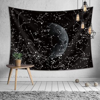 Children's Home Black Starry Moon Series Printing Hanging Tapestry Wall Decoration 1#_130*150 PHO_0B21484M at TotalPro.com.au - Australia