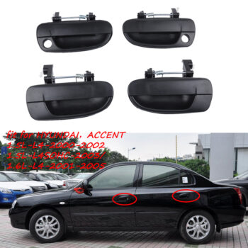 Safety 2 Pairs Outside Door Handle Front Rear Left Right for Hyundai Accent  black PAU_05YIEHDG at TotalPro.com.au - Australia