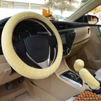 Handle Warm Fur Automotive Steering Wheel Cover Universal Steering-wheel Plush Car Steering Wheel Covers Beige_Steering wheel cover + hand brake cover + gear cover PAU_077R9R2S at TotalPro.com.au - Australia