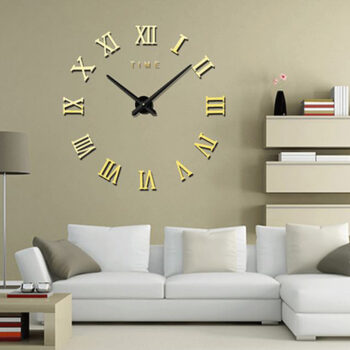 Bathing Fashionable Roman Numeral Wall Clock DIY Wall Ornament Home Office Hotel Decoration Gift  Light Gold PHO_04NJZDLE at TotalPro.com.au - Australia