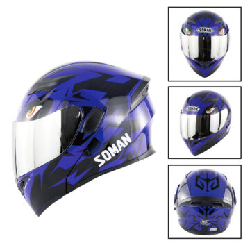 Others Unisex Advanced Double Lens Flip-up Motorcycle Helmet Off-road Safety Helmet blue with silver lens_XXL PAU_060TJ48G at TotalPro.com.au - Australia