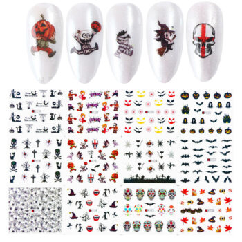 Cosmetics Nail Wrap Halloween Stickers Nail Art Decorations Skull Transfer Decals Accessories Tip Manicure Tool  A1117-A1128 (12 large pieces of bare) PBE_06Z2MCFP at TotalPro.com.au - Australia
