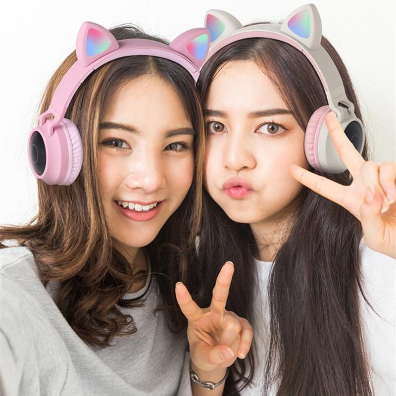 Cute Cat Bluetooth 5.0 Headset Wireless Hifi Music Stereo Bass Headphones LED Light Mobile Phones Girl Daughter Headset For PC