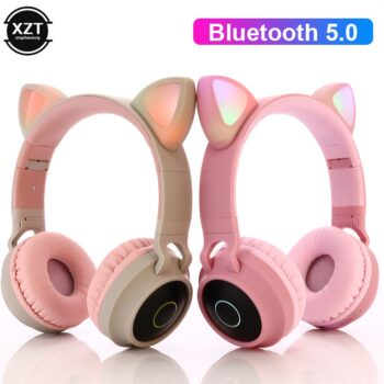 LED Cat Ear Headphones Bluetooth 5.0 Noise Cancelling Adults Kids girl Headset Support TF Card FM Radio With Mic Wireless Wired