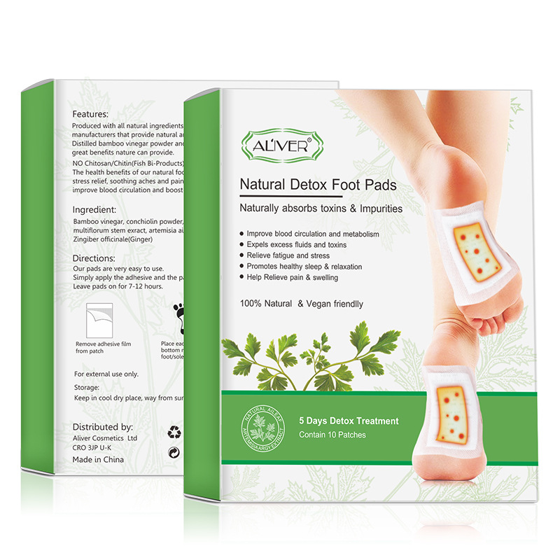 TotalPro – 10Pcs/box Foot Patch Moxa Ginger Bamboo Vinegar Detox Dehumidification…